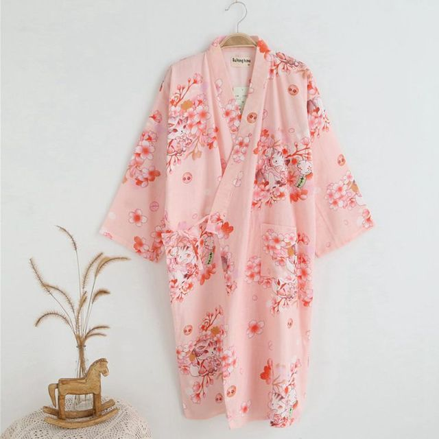 Cotton Bathrobes Summer Cotton Robes for Women Cotton Kimono Robes Floral Spa Robe Women Pajamas Japanese Kimono Yukata