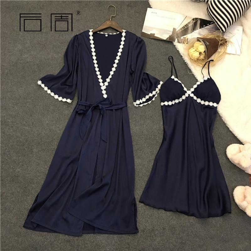 Satin Sleepwear Robe Gown Set Femme Spring Bathrobe Peignoir 2 Pieces Pajamas Silk Sexy Elegant Feminino Pijama Home Clothing
