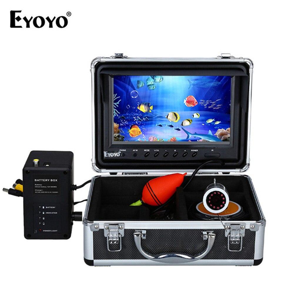 EYOYO WF09 plata Llena 9 30 m Video Fish Finder HD 1000TVL pesca submarina Cámara grabación de vídeo DVR blanco LED 8 GB tarjeta