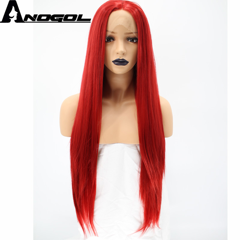 Anogol High Temperatutre Fiber Glueless Natural Hairline Middle Part Long Straight Red Synthetic Lace Front Wig