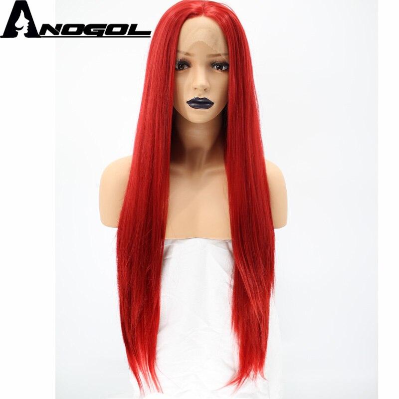 Anogol высокое Temperatutre волокно Glueless натуральный волос средней части длинные прямые красный синтетический Синтетические волосы на кружеве пари...