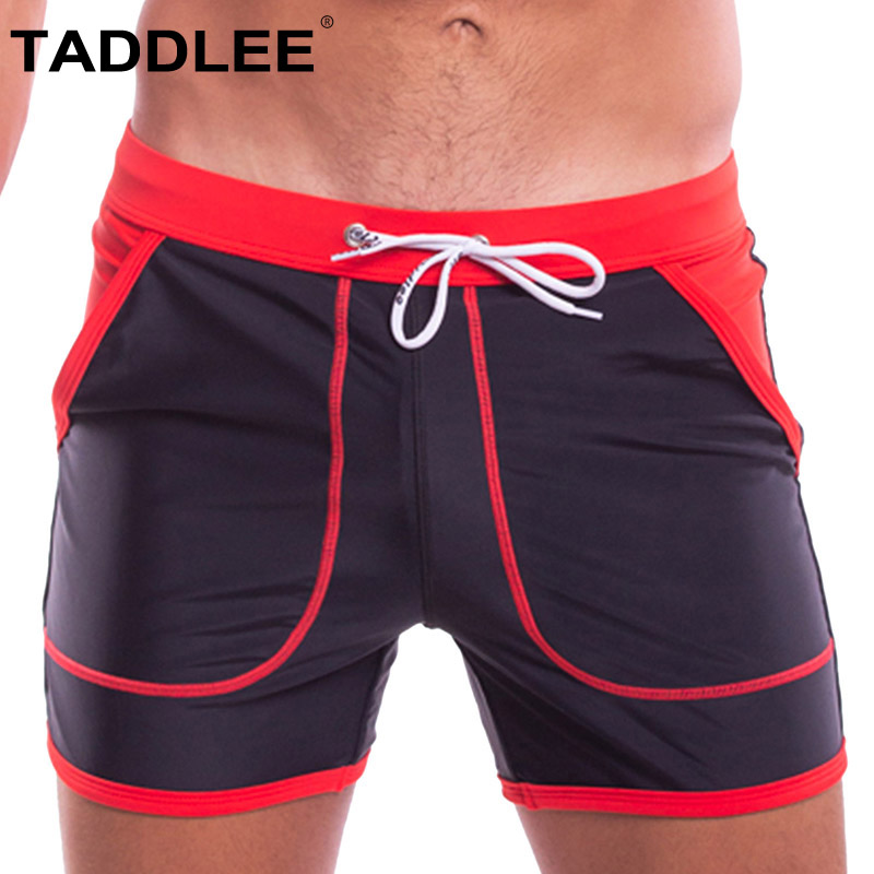 Taddlee Brand Swimming Briefs Men Swimwear Boxer Trunks Sexy Mens Pocket Quick Drying Solid Swim Surfing
