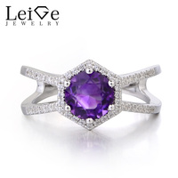 Leige Jewelry Natural Amethyst Ring Promise Rings Round Cut February Birthstone Purple Gemstone 925 Sterling Silver Ring for Her