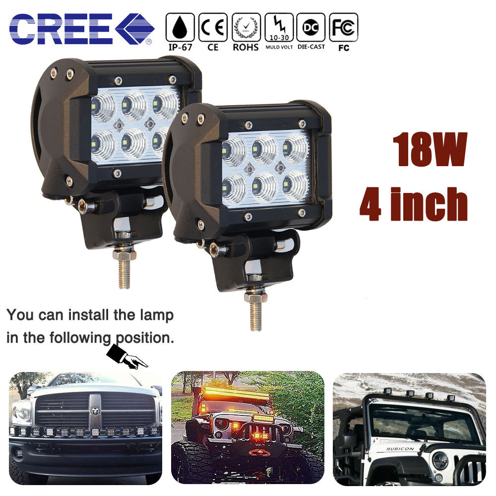 "CO LIGHT 2 PCS 4 Inch 18W LED Work Light 4"" Pod Light Bar Spot Flood Beam for Off Road 4X4 4WD Lada ATV UTV SUV Driving 12V 24V"