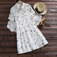 New Summer Japanese Cute Cartoon Animals Print Mini Dress Women Mori Girl Kawaii Short Sleeve Plus