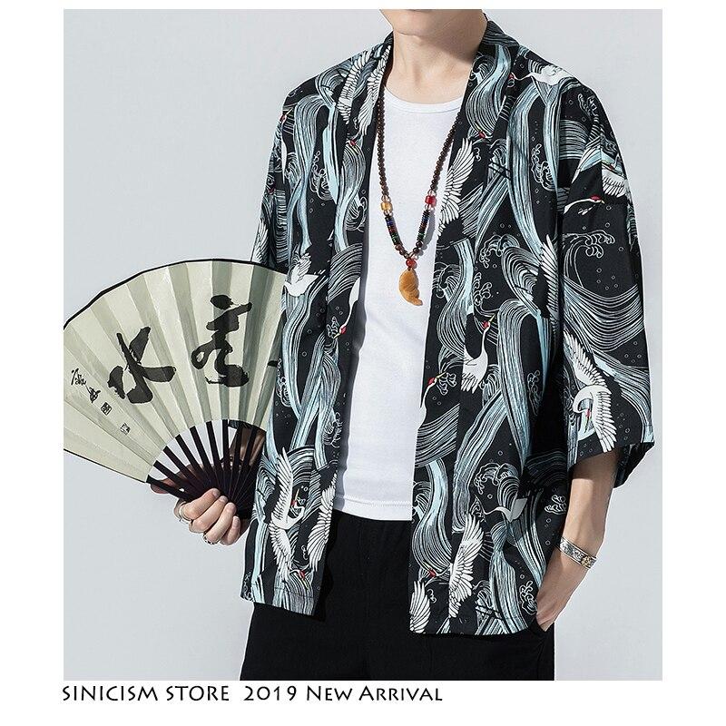 Sinicism Store, мужские кимоно с принтом, повседневные куртки, 2019, мужская Тонкая японская куртка в китайском стиле, летняя мужская одежда с открыт...