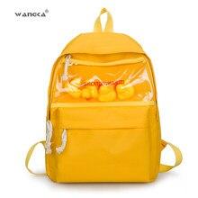 19855d990458 WANGKA Girls Travel Bag Yellow Rubber Duck Light Rucksack Mochila Feminina  Bagpack Lovely Printing Nylon Schoolbags For Teenager