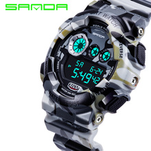 SANDA Marca Deporte de Los Hombres Relojes Led Digital Reloj Militar 50 M Impermeable Al Aire Libre de Camo Hombres Casual Reloj Relogio masculino