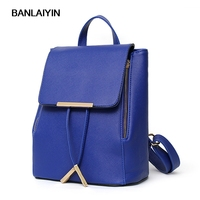Women Fashion PU Leather Backpacks Mochila Escolar School Bags For Teenagers Top-handle Backpacks Candy Color High Quality