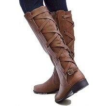 ae3f72e43e Tamaño grande 35-43 rodilla alta botas mujer moto cremallera tacones bajos  hebilla Cruz Tie zapatos de plataforma de invierno bo.