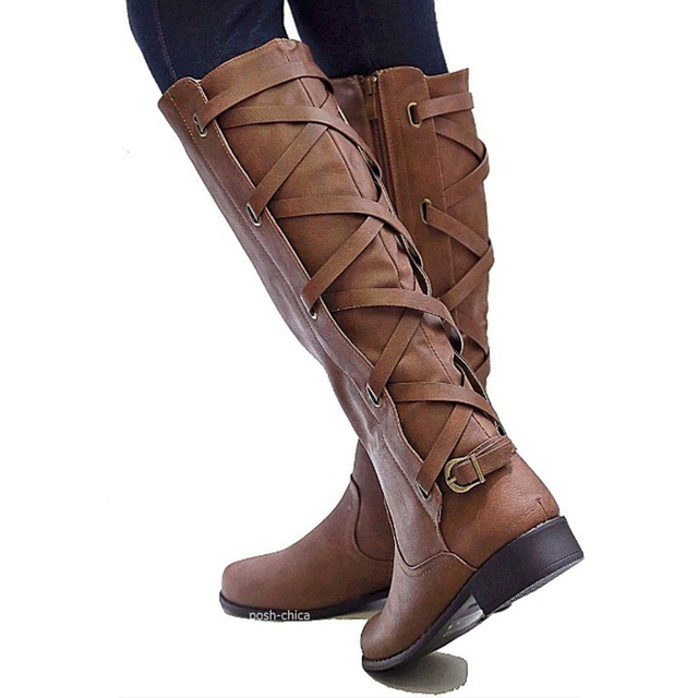 c2b6d0890a01 Big Size 35-43 Knee High Women Boots Zipper Motorcycle Boots Low Heels  Buckle Cross Tie Platform Shoes Winter Riding Boots