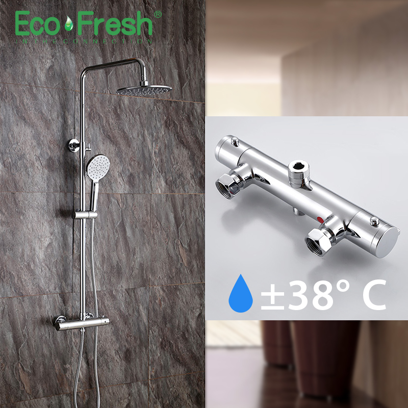 Ecofresh Shower System Bathroom Shower Thermostat Faucet Tap Waterfall Wall Mount Thermostatic Shower Mixer With Shower Faucets