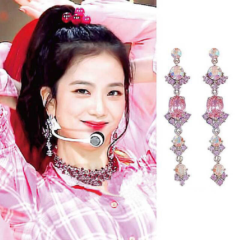 MENGJIQIAO Korean Star New Vintage Shiny Pink Crystal  Long Pendientes Mujer Moda Elegant Transparent Pendant Drop Earrings Gift