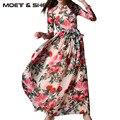 2017 primavera impressão de manga comprida dress expansão dress mulheres vestidos chiffon dress d6d9268y