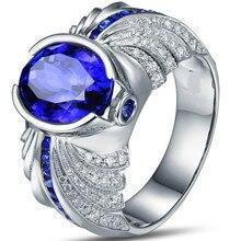 18KT White Gold Filled Navy Blue Zircon Men's wedding ring size 8-15 #B433