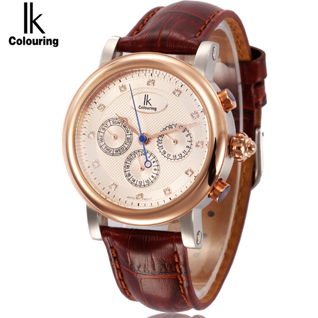 IK Men Tourbillon Full-automatic Mechanical Waterproof Watch Fashion Leather Man Calendar Week Multi Function Display Watches