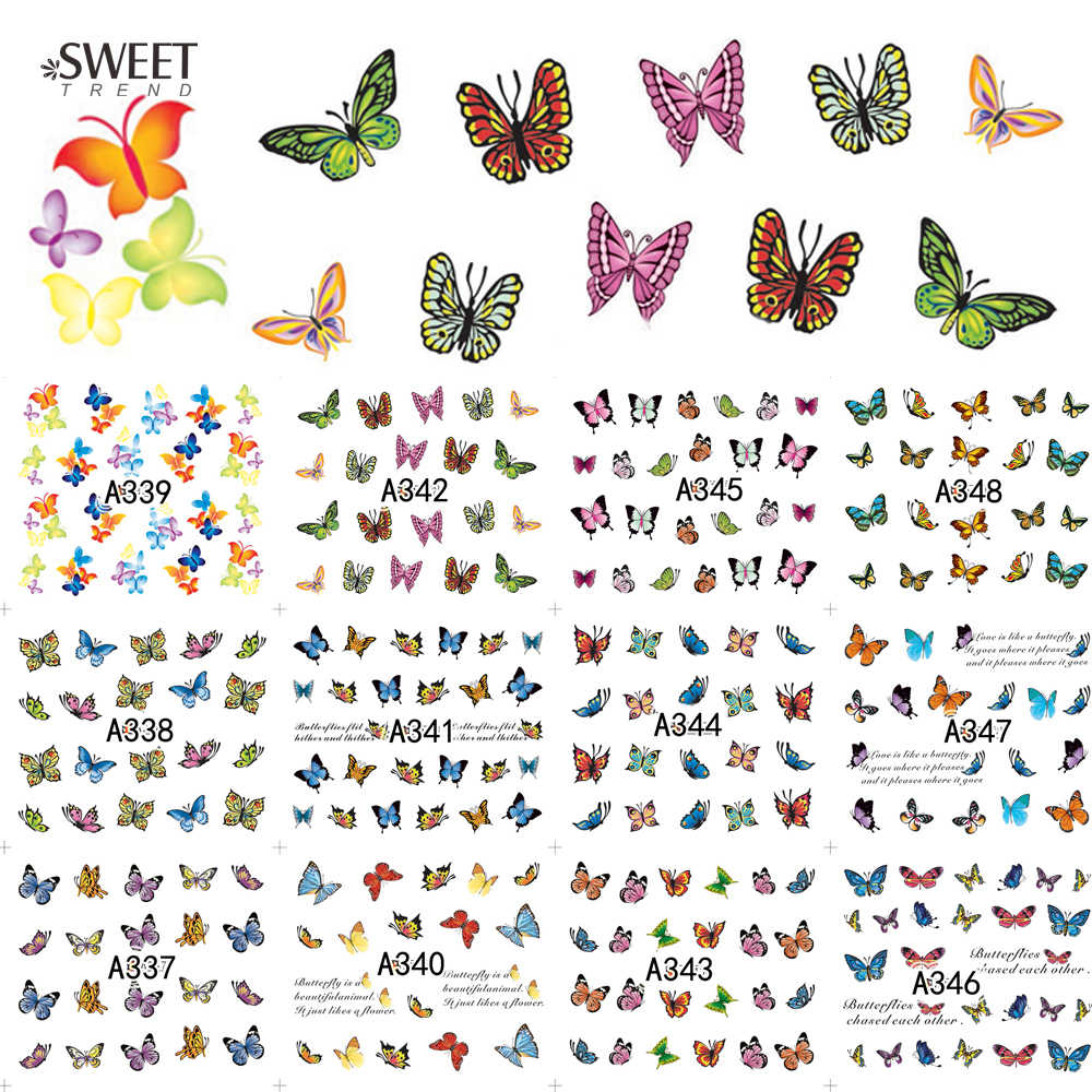 12 Designs in 1 Sweet Butterfly Nail Wraps Nail Art Stickers Polish Watermark Nail Decals Decoration Manicure Tools LAA337-348