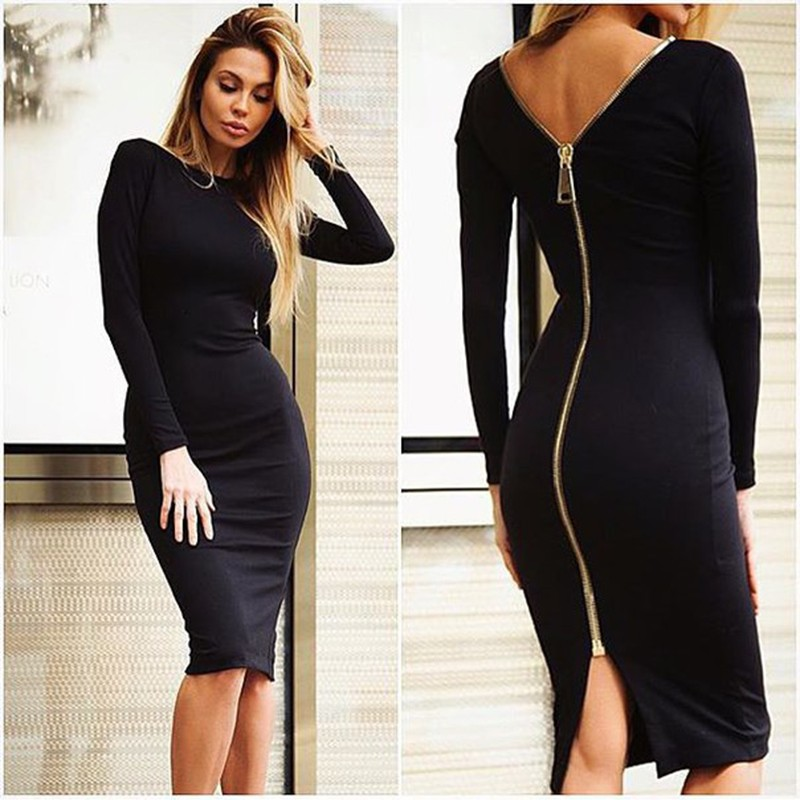 VESTLINDA Bodycon Sheath Dress Little Black Long Sleeve Party Dresses Women Back Full Zipper Robe Sexy Femme Pencil Tight Dress