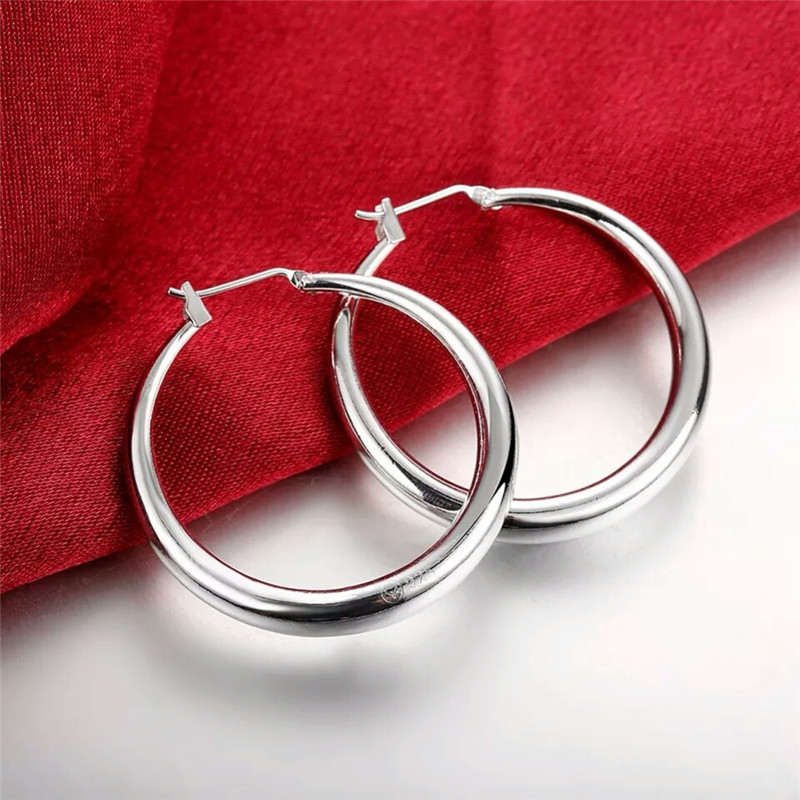 925 Sterling Silver Thick Round Creole Hoop Earrings Classic Piercing Fashion Women Jewelry Casual Sporty Jewelry Gift NO Stamp