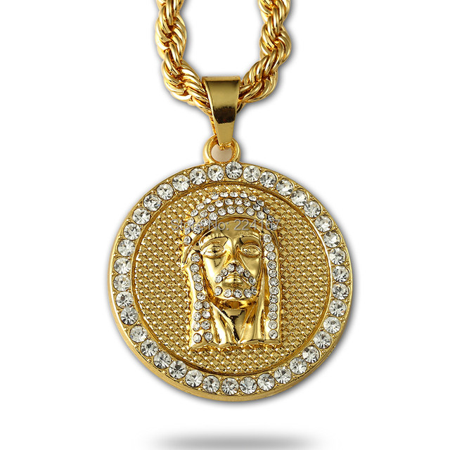Online shop fashion gold filled crystal jesus piece pendant fashion gold filled crystal jesus piece pendant necklace for men women hip hop jewelry with gold chunky chain long coin necklace aloadofball Image collections