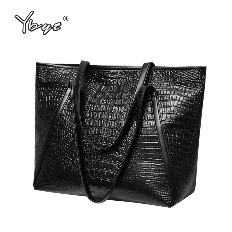 YBYT marca 2018 nova moda casual brilhante jacaré totes grande capacidade de senhoras simples bolsa de couro PU bolsa de compras sacos de ombro