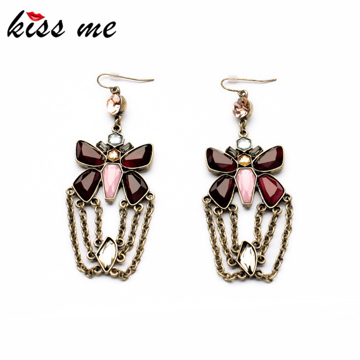 KISS ME Factory Tassel Earrings Jewelry Newest Fashion Antique Gold Color Resin Butterfly Earrings for Women