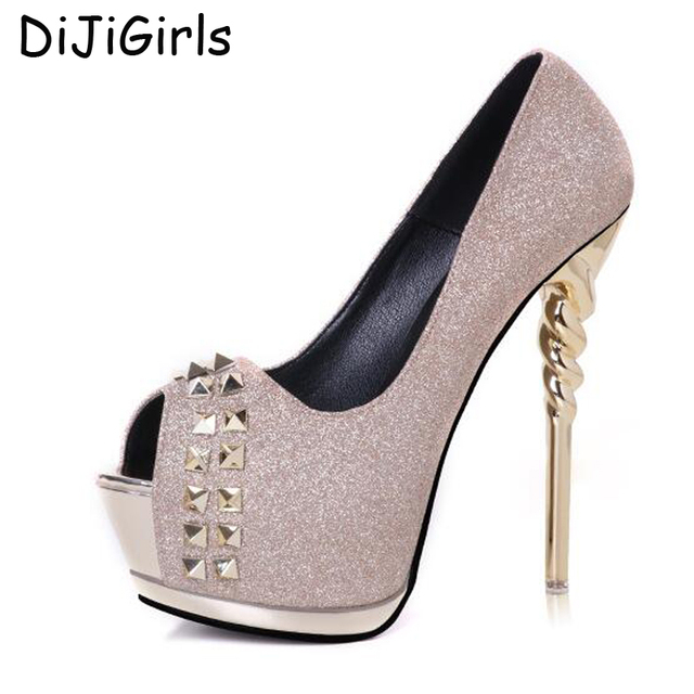 fashion pumps peep toe studded heels women party shoes silver pumps wedding  shoes woman pumps open toe sexy high heels D1301 8bd047f0c649