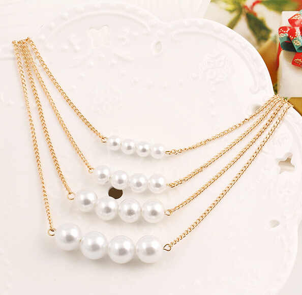 Collier Multilayer Rantai Pernyataan Kalung & Liontin Simulasi Pearl - Perhiasan fashion - Foto 3