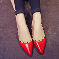New Arrival 2016 Fashion Women Flats Pointed Toe Rivet Decorate Patent Leather Shoes Comfortable Low Zapatos Mujer