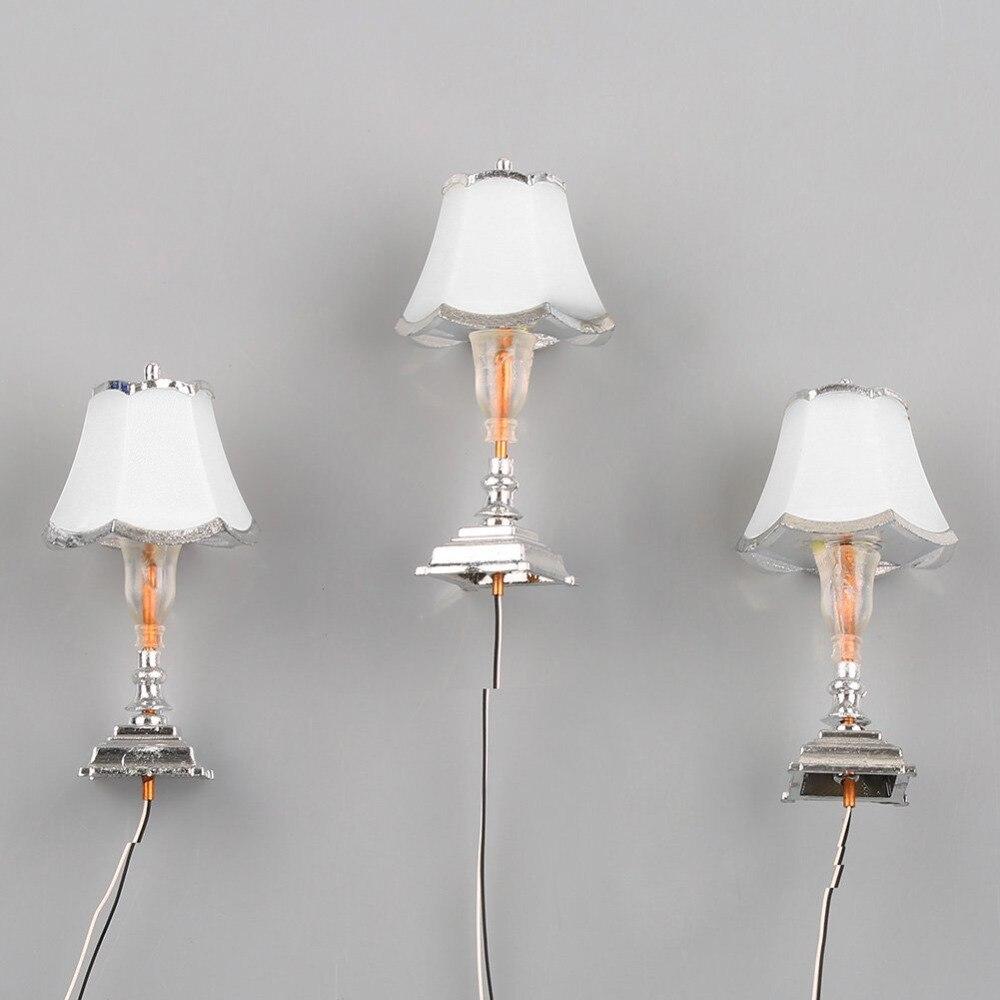 5PCS Sliver 1:20 Table Lamp Model 1/20 LED Light Furniture Model 3V TD2-4 Toy