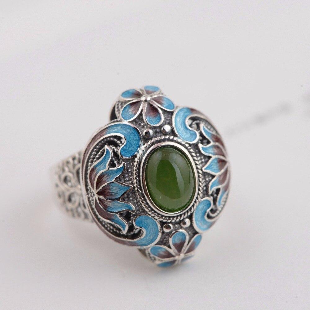 Retro Ethnic Female Ring Real 925 Sterling Silver Ring Vintage Pure Handmade Jasper Silver Ring Lady Original Jewelry Wholesale цены онлайн