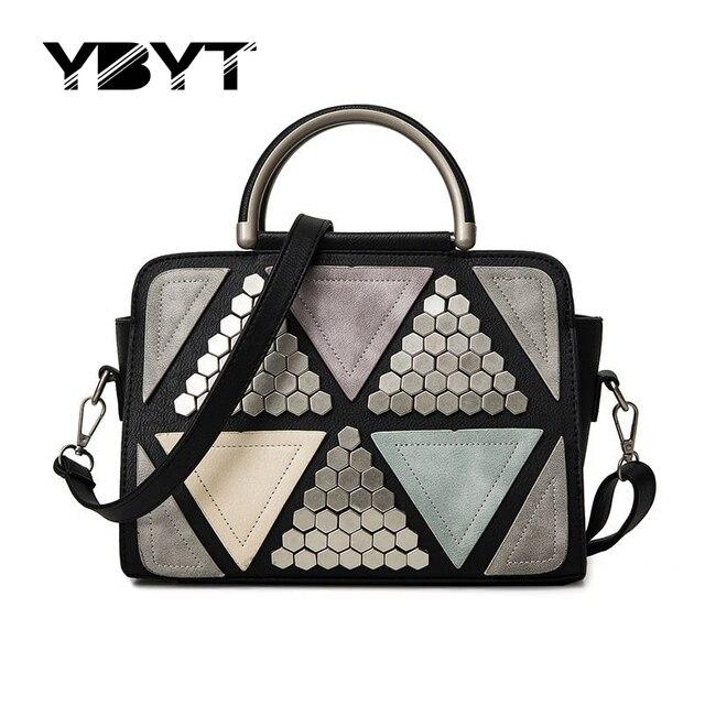 Ybyt marca 2017 nueva patchwork remache de la manera saffiano bolsos hotsale paquete de compras de las mujeres de la señora hombro del mensajero de crossbody bags