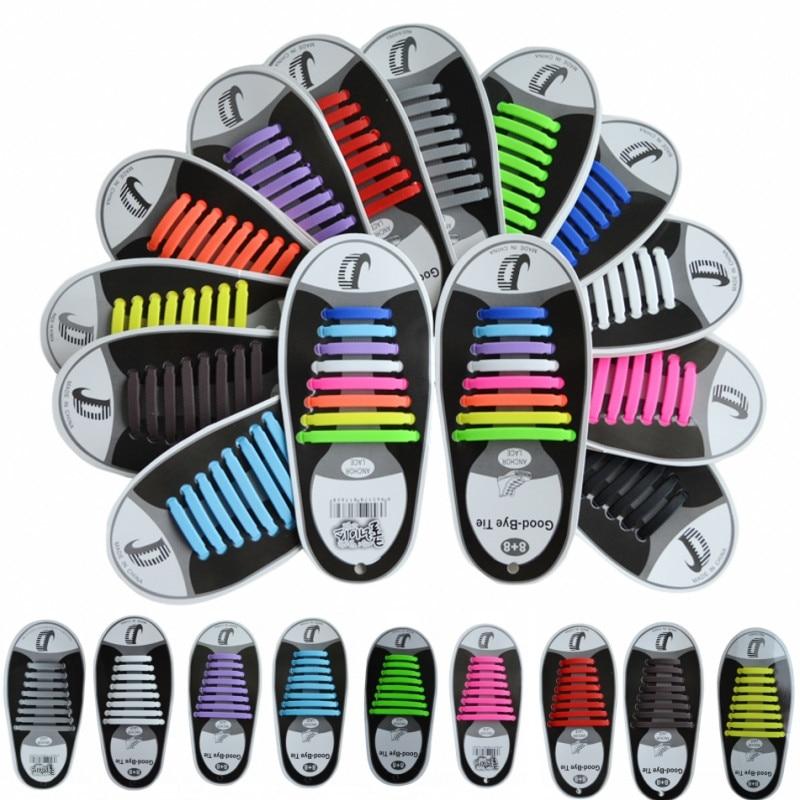 E72C 16pcs//set Novelty Unisex No Tie Elastic Silicone Sneakers Trainer Shoelaces