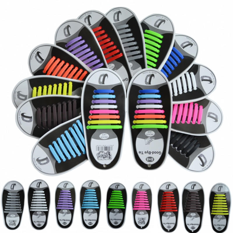 16Pc/Set Unisex Women Men Athletic Shoes Lazy No Tie Shoelaces Elastic Silicone Shoe Laces Shoestrings All Sneakers Fit Strap купить