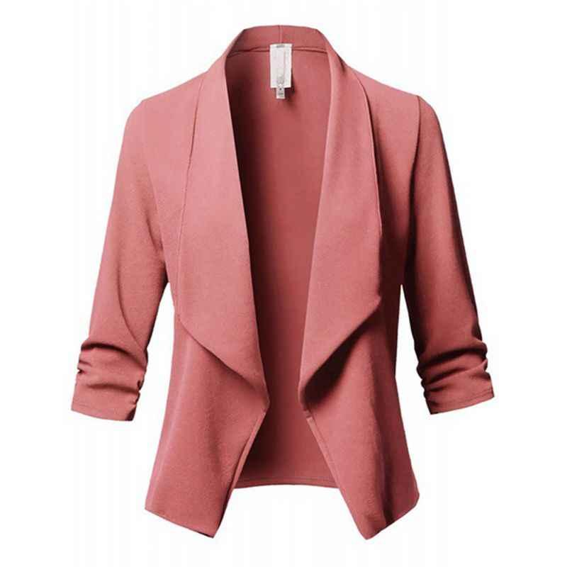 Slim טרייל נשים סתיו מעיל נשי עבודת משרד ליידי אף כפתור מוצק דש קפלים ארוך שרוולים עסקים בלייזר מעיל