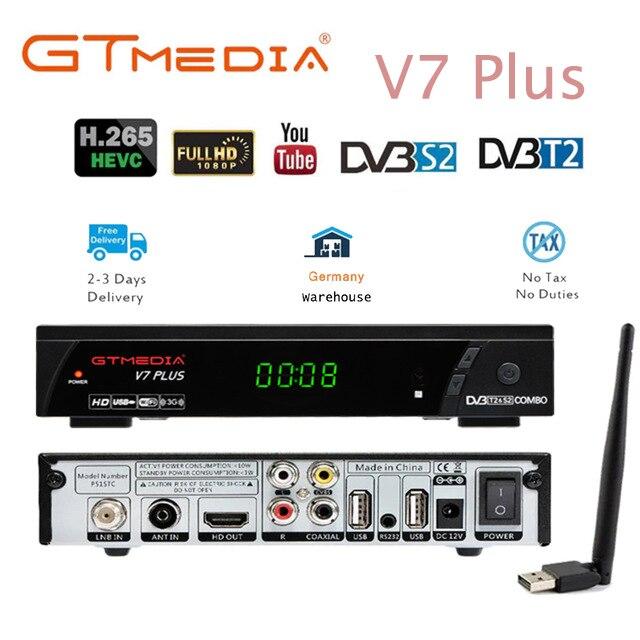 100% original 2019 nova chegada gtmedia v7 plus DVB-S2 DVB-T2 tv satélite combo receptor suporte h.265 + espanha itália cccam 5 cline