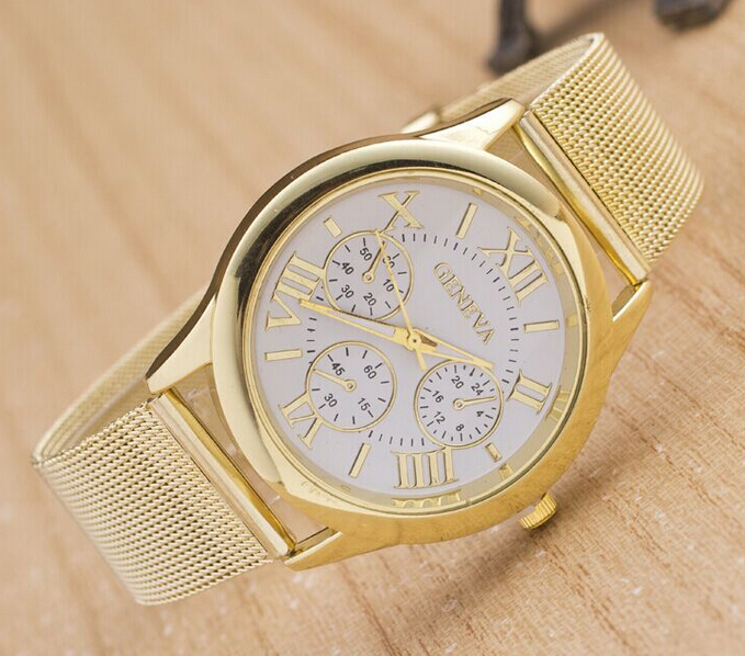 aliexpress com buy women dress watch men gold full steel aliexpress com buy women dress watch men gold full steel wristwatch geneva brand watches ladies watches relogio gold watch from reliable dresses