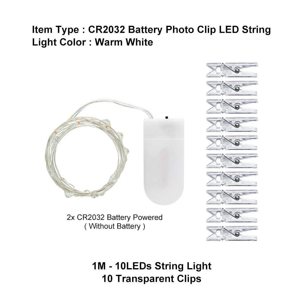 ANBLUB 1M 2M 3M 5M Photo Clip LED chaîne lumières fée guirlande à piles pour la décoration de mariage de fête de noël en plein air