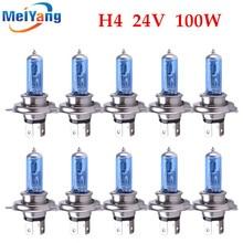 цена на 10pcs 24V H4 100W Super Bright Fog Lights Halogen Bulb High Power Headlight Lamp Car Light Source parking Head White 100/90W