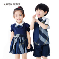 Kid Clothes set blue plaid shirt with blue shorts boys set summer girls set school uniforms brother and sister clothing 3 7T