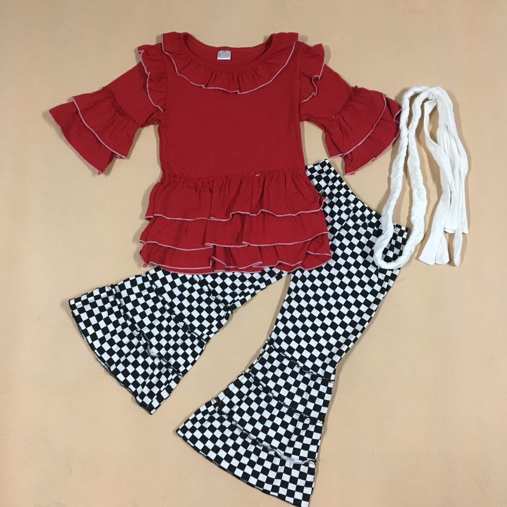 Mustard Pie Fall Winter Boutique Kids Clothing Cotton Red Top Plaid Pants Baby ClothesToddler Girls Outfits With Belt F102