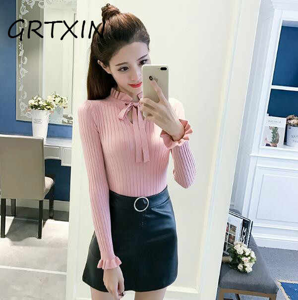 0723e507d5 Casual Slim Sweater Women 2018 Autumn Spring Knitted Sweater Lace Up Flare  Long Sleeve Ruffle Knitting