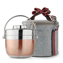 Stainless Steel Dish Set Lunch Double Layer Food Container Portable Picnic Thermal Bag Kids Bento Box Home Dinnerware
