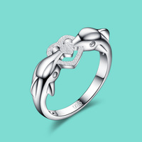 Cute Wind 925 Sterling Silver Ring Female Dolphin Design Solid Silver Ring Charm Jewelry Jewels Popular