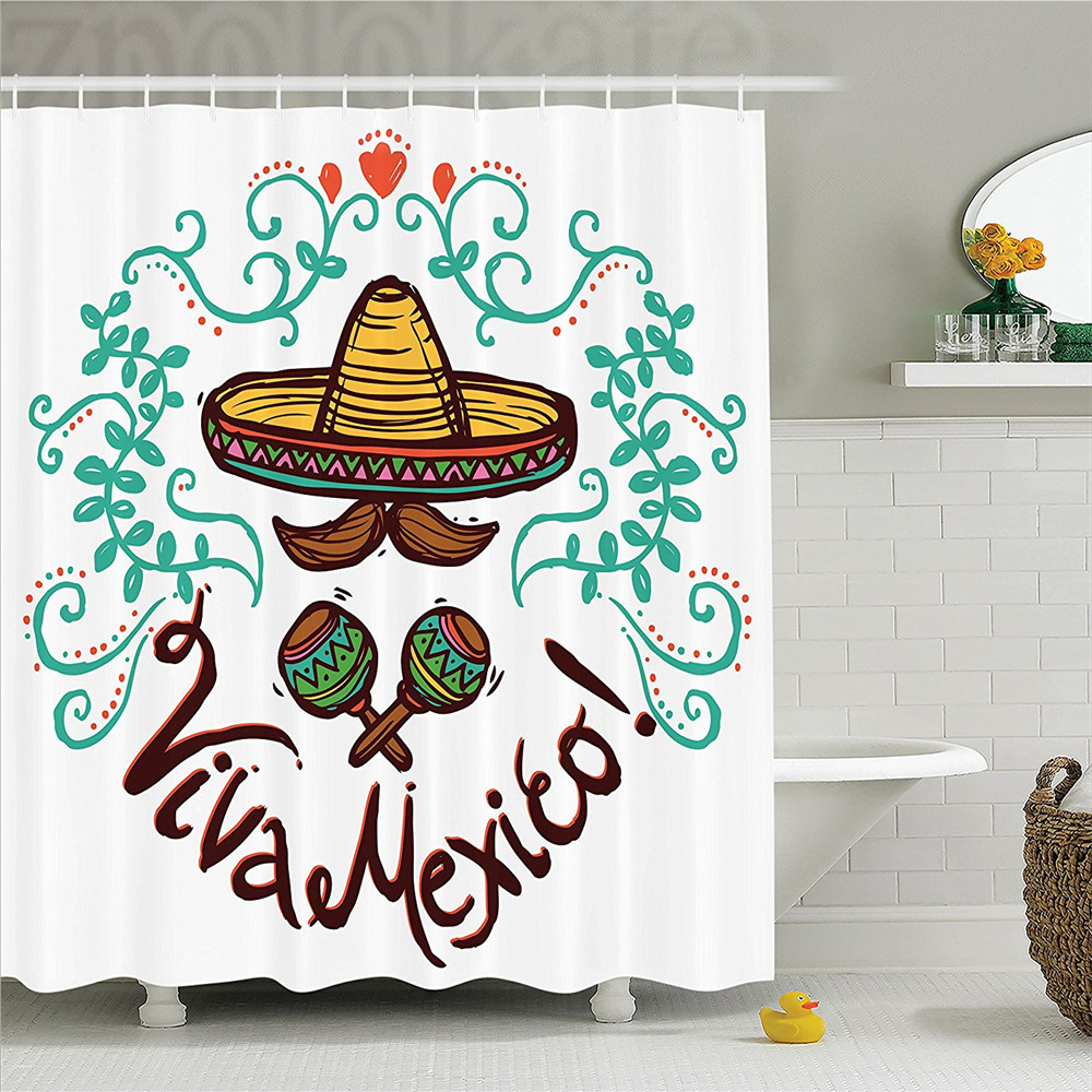 Mexican Decorations Collection Mexico Style Sketch Floral Ornament Typography Decorating Hispanic Art Print Shower Curtain Set