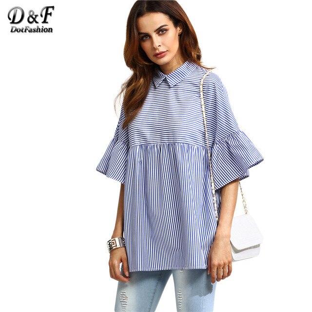 Dotfashion Coreano Senhoras Blusa Camisas De Grife para Mulheres Marca Top Listrado Azul Lapela Manga Plissado Babydoll Blusa