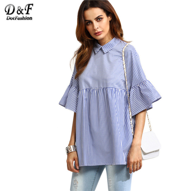 8229af653b7 Dotfashion Korean Ladies Blouse Designer Shirts for Women Top Brand Blue  Striped Lapel Ruffle Sleeve Babydoll