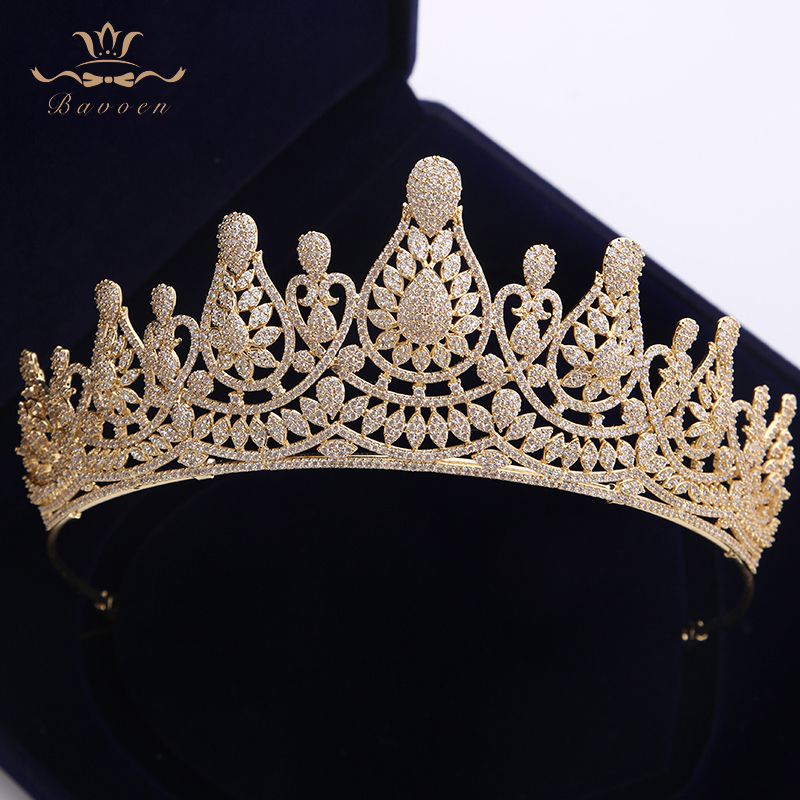 Top Quality Stunning Full Zircon Wedding Hairbands Gifts for Brides Plated Crystal Tiaras Crowns Gold Wedding