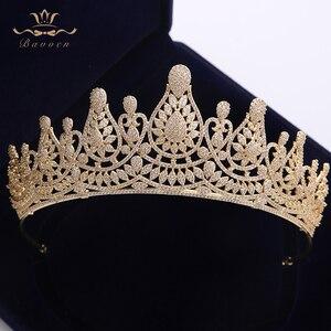 Image 1 - למעלה איכות מדהימה מלא זירקון חתונת Hairbands מתנות עבור כלות מצופה קריסטל מצנפות כתרים זהב חתונה שיער אבזרים