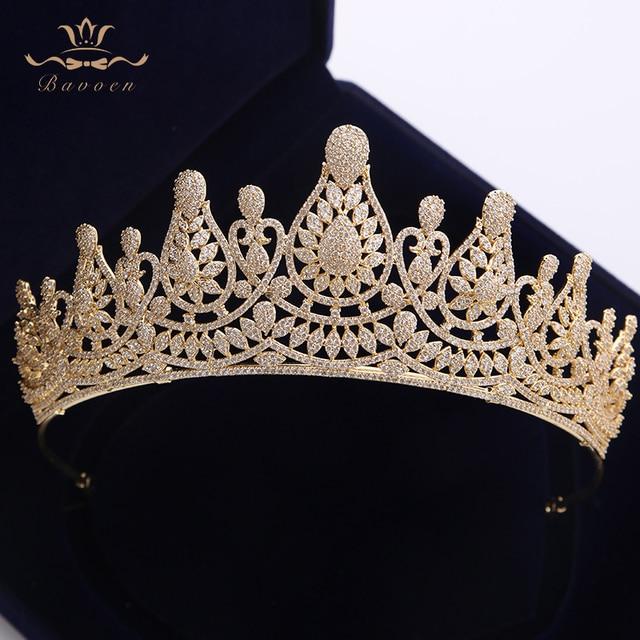 למעלה איכות מדהימה מלא זירקון חתונת Hairbands מתנות עבור כלות מצופה קריסטל מצנפות כתרים זהב חתונה שיער אבזרים